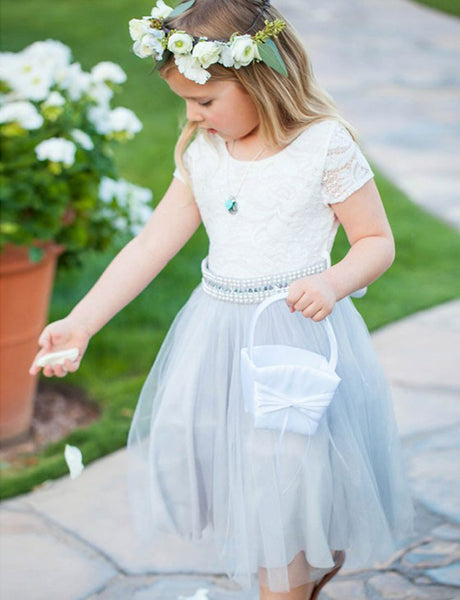 Round Neck Light Sky Blue Tulle Flower Girl Dresses with Beading Lace