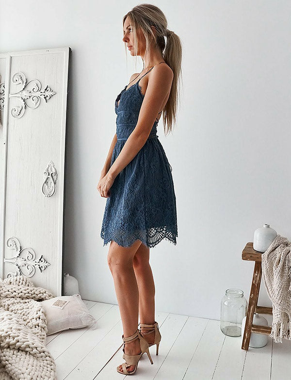 Fashion A-Line V-Neck Lace Short Homecoming Dress Navy Blue Cocktail Dress - ericprom