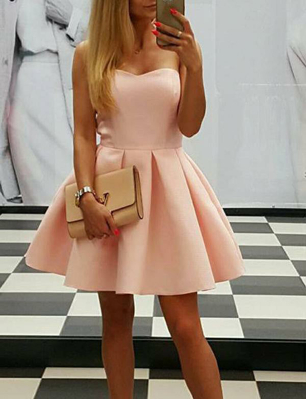 Elegant A-Line Sweetheart Light Pink Tulle Short Homecoming Dresses - ericprom