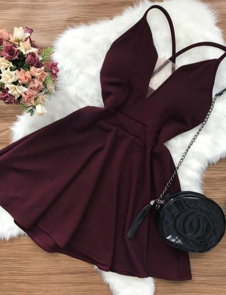 Sexy Deep V Neck Burgundy Cocktail Dress Criss-Cross Straps Short Homecoming Dress