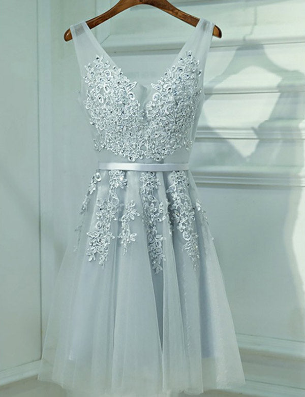 V Neck Tulle Short Homecoming Dresses with Appliques Prom Dress