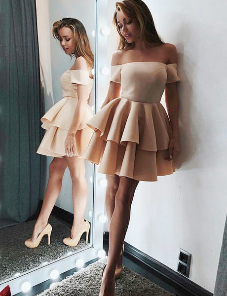 Off the Shoulder Champagne Prom Dress Satin Short Homecoming Dresses with Ruffles