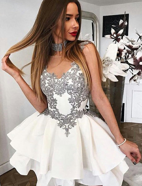 Trendy A-Line Illusion Neck White Satin Short Homecoming Prom Dress with Lace Appliques