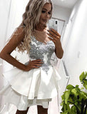 Trendy A-Line Illusion Neck White Satin Short Homecoming Prom Dress with Lace Appliques - ericprom