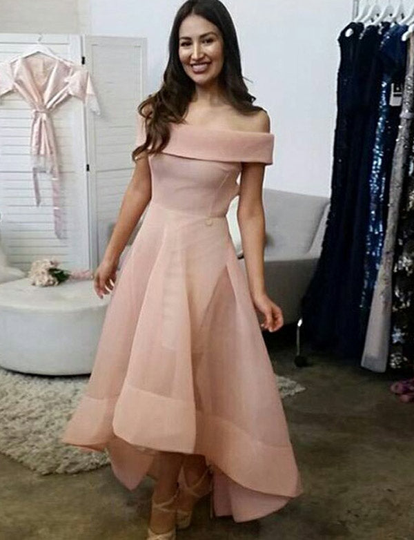 Simple Off the Shoulder High Low Homecoming Dress Pink Prom Dress - ericprom