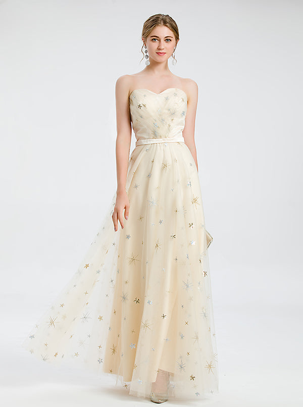 A-line Yellow Sweetheart Prom Dress Chiffon Dress
