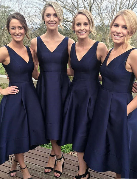 Hot A Line V Neck Tea Length Satin Navy Blue Bridesmaid Dress with Pockets