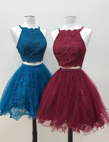 Halter Short Two Piece Homecoming Dress with Appliques Beading Cocktail Dress
