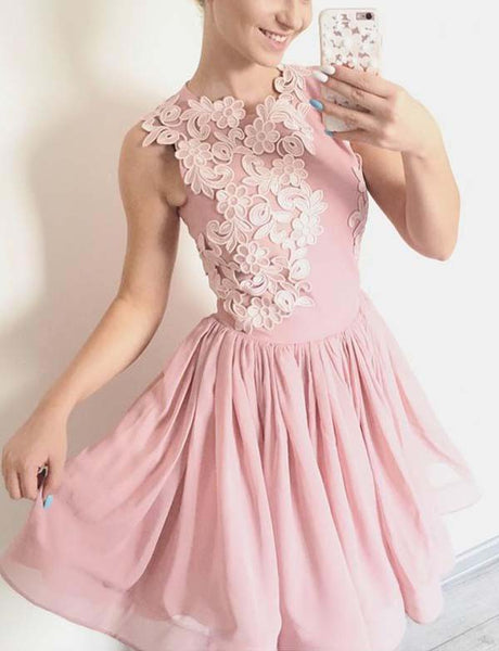 Charming A Line Jewel Short Pink Homecoming Dress with Appliques
