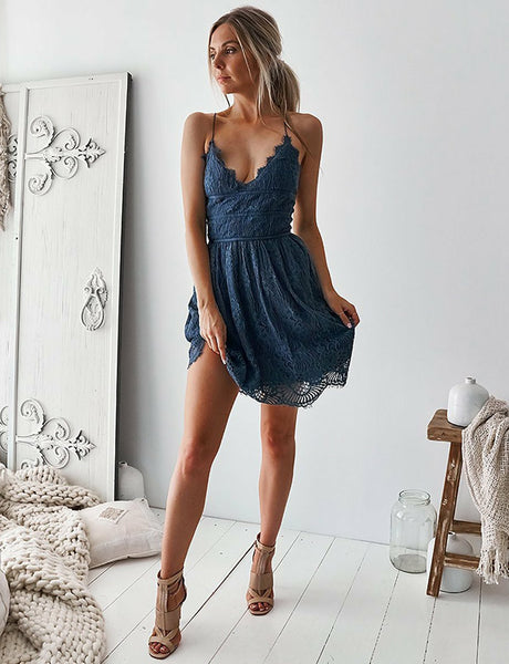 Fashion A-Line V-Neck Lace Short Homecoming Dress Navy Blue Cocktail Dress
