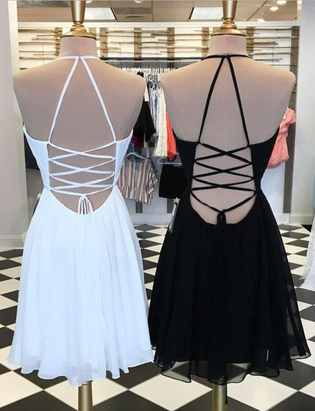 Spaghetti Straps Black Cocktail Dress with Embroidery White Homecoming Dress