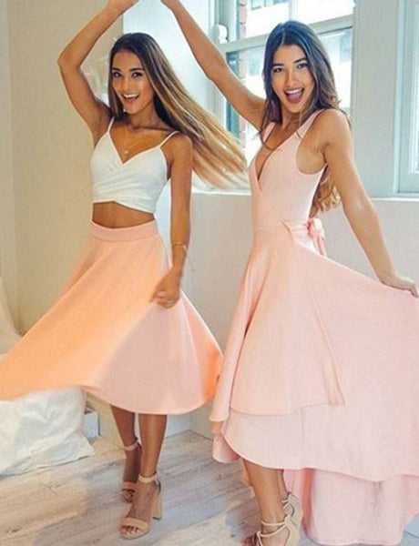 Charming V-Neck Pink Homecoming Dress Sleeveless High Low Prom Dress