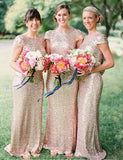 Popular Sheath Jewel Short Sleeves Backless Champagne Sequin Bridesmaid Dress - ericprom
