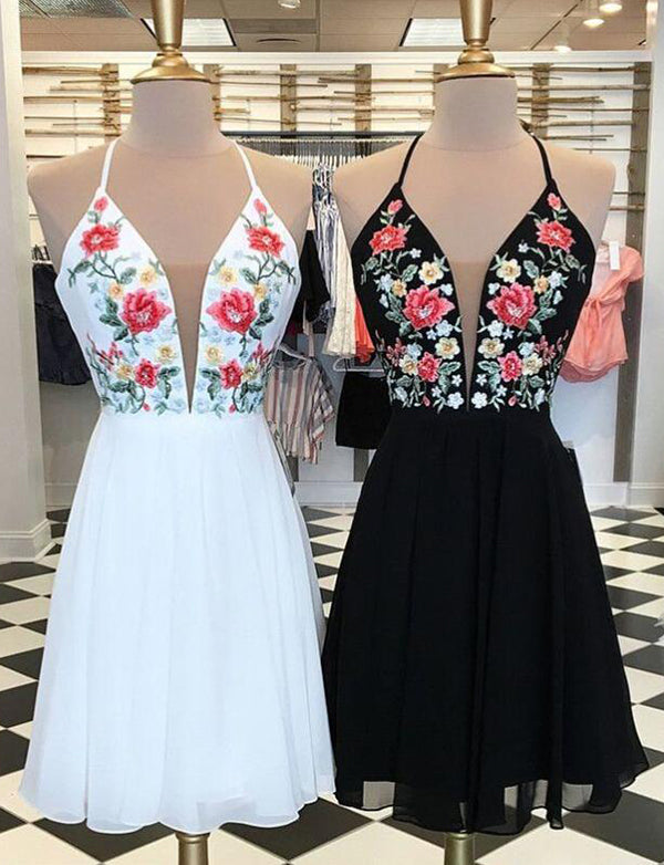 Spaghetti Straps Black Cocktail Dress with Embroidery White Homecoming Dress - ericprom