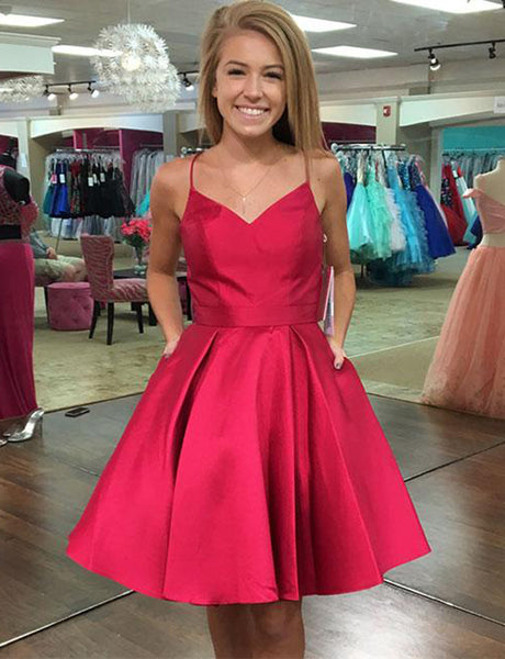 Spaghetti Straps Red Cocktail Dress Short Homecoming Dress with Pockets Bowknot
