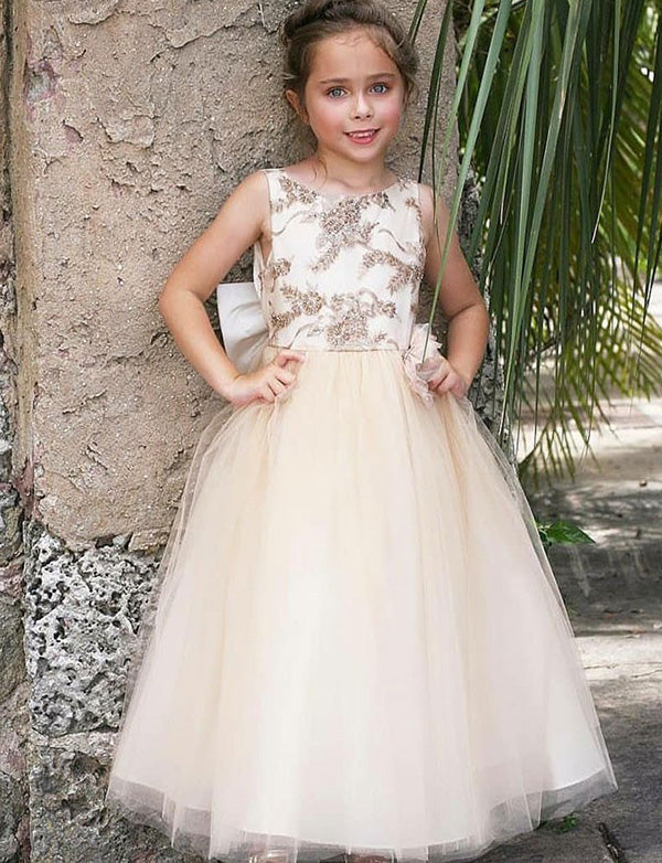 A Line Round Neck Champagne Tulle Flower Girl Dress with Appliques Bowknot - ericprom