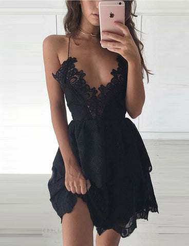 Sexy A-Line Deep V-Neck Short Black Cocktail Dress Lace Homecoming Dress