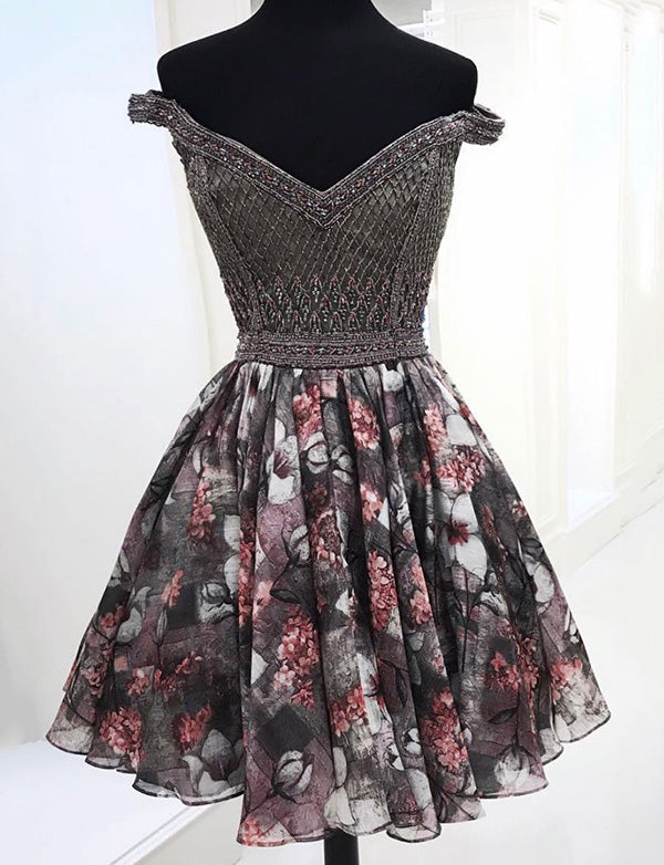 A Line Short Black Off the Shoulder Homecoming Dress with Printing Beading - ericprom