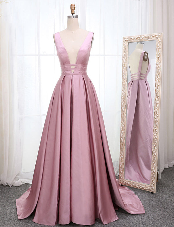 A Line Burgundy Prom Dress With Legsplit - ericprom