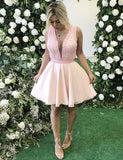 Deep V-Neck Beading Cocktail Dress Sleeveless Short Pink Homecoming Dress - ericprom