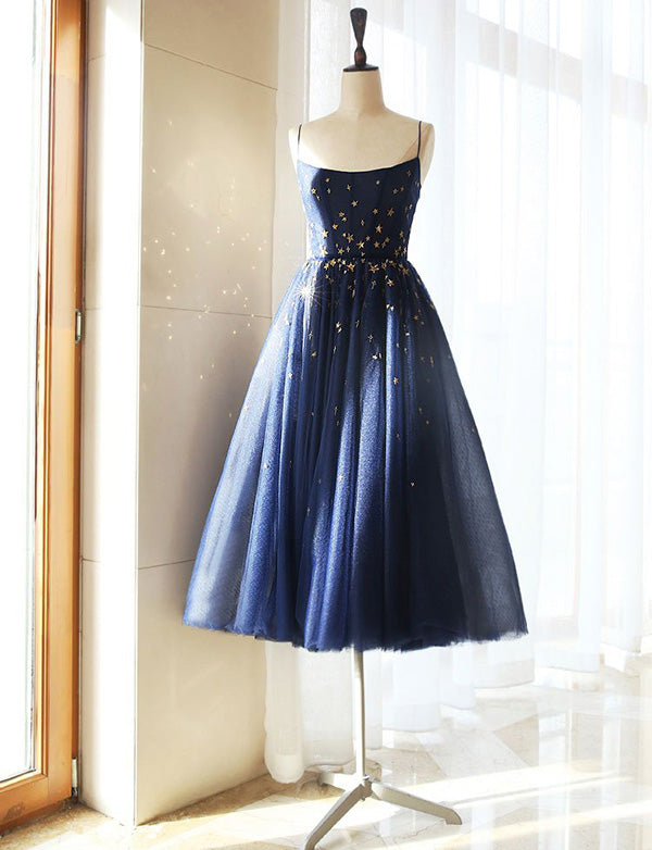 Cute A Line Spaghetti Straps Tea Length Blue Tulle Homecoming Dress - ericprom