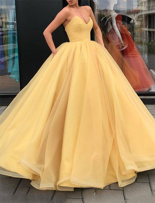 Amazing Sweetheart Prom Gown Sleeveless Long Tulle Yellow Evening Dress - ericprom