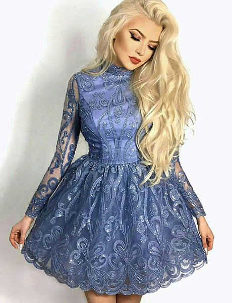 A-Line High Neck Long Sleeves Blue Tulle Homecoming Dress with Appliques