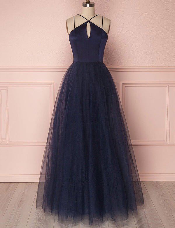 Simple Halter Tulle Floor Length Sleeveless Navy Blue Prom Dress with Keyhole - ericprom