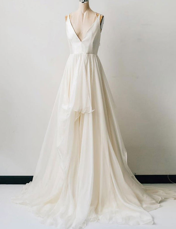 Simple Deep V Neck Sleeveless Chiffon White Simple Wedding Dress - ericprom