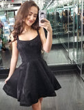 Straps Open Back Homecoming Dress Sequin Short Black Cocktail Dress - ericprom