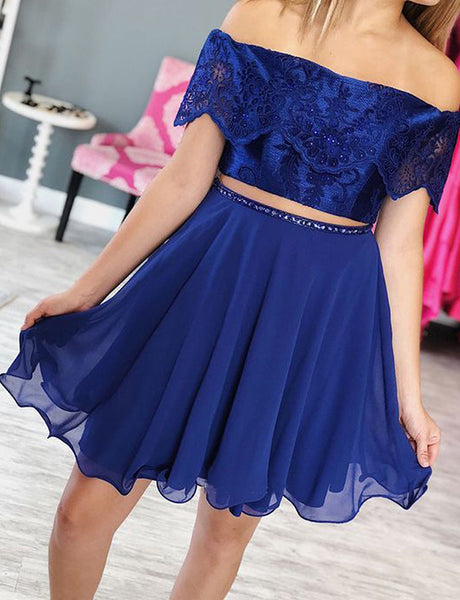 Two Piece Off the Shoulder Cocktail Dres Royal Blue Homecoming Dress with Lace