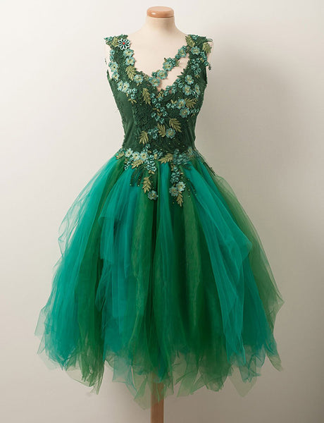 Unique A Line V Neck Short Green Tulle Homecoming Dress with Appliques Beading