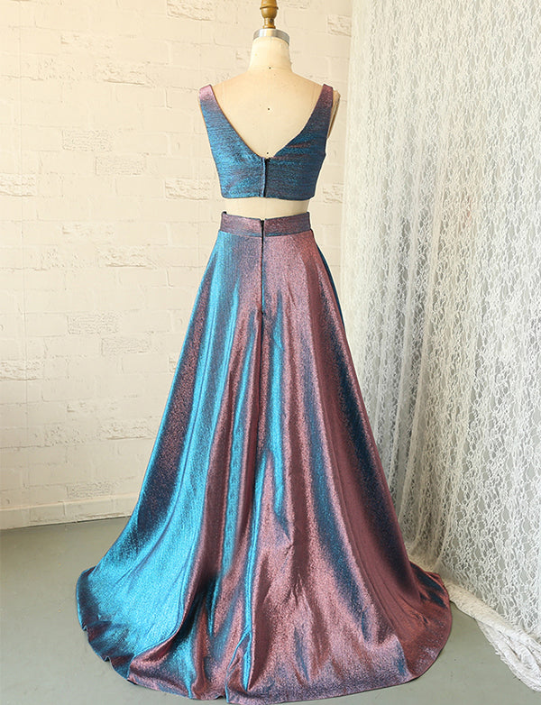 Charming V-Neck Two Piece Prom Dress Sleeveless Metallic Long Prom Gown - ericprom