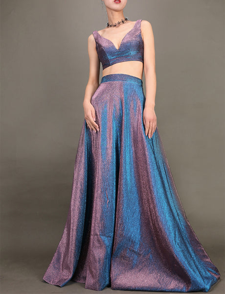 Charming V-Neck Two Piece Prom Dress Sleeveless Metallic Long Prom Gown