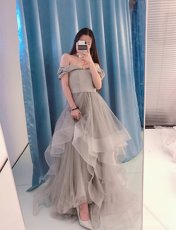 Pretty Off the Shoulder Prom Dress with Sleeves Beading Long Grey Prom Gown - ericprom