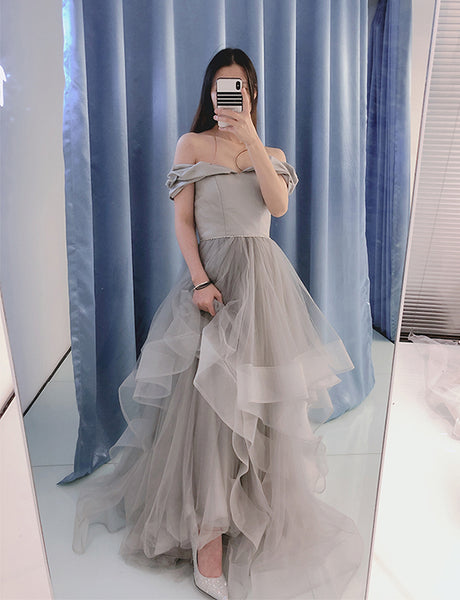 Pretty Off the Shoulder Prom Dress with Sleeves Beading Long Grey Prom Gown