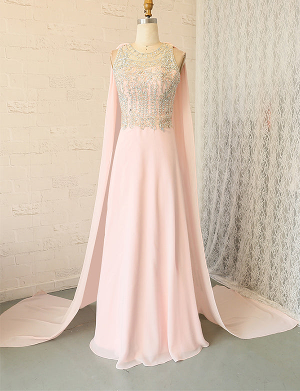 Amazing Sheath Watteau Sleeveless Pink Prom Dress with Beading Evening Dress - ericprom