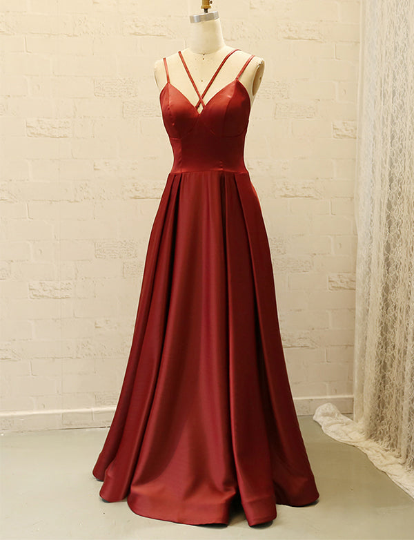 Chic Spaghetti Straps Burgundy Prom Dress Satin Sleeveless Long Prom Gown - ericprom