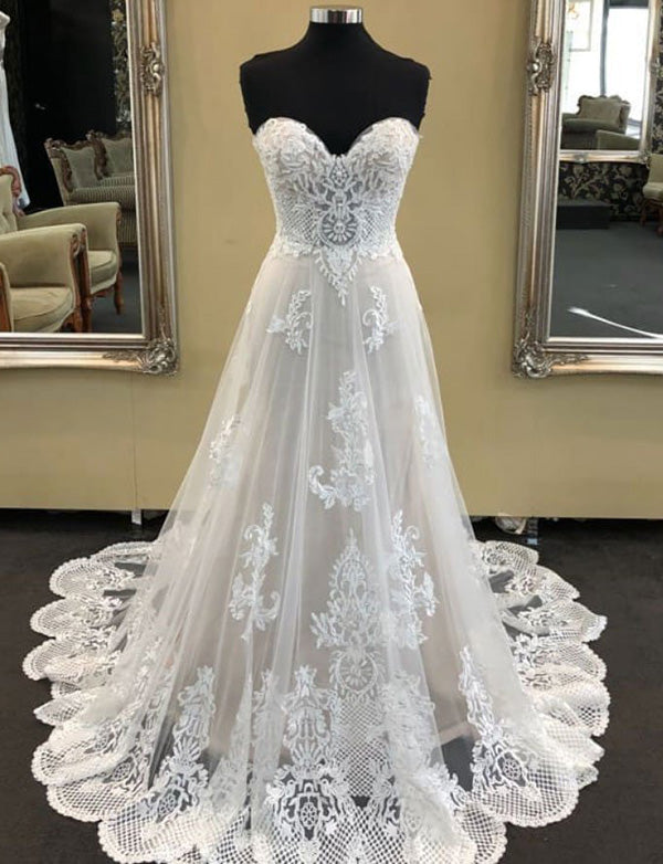 Unique A Line Sweetheart Sweep Train White Tulle Wedding Dress with Appliques - ericprom