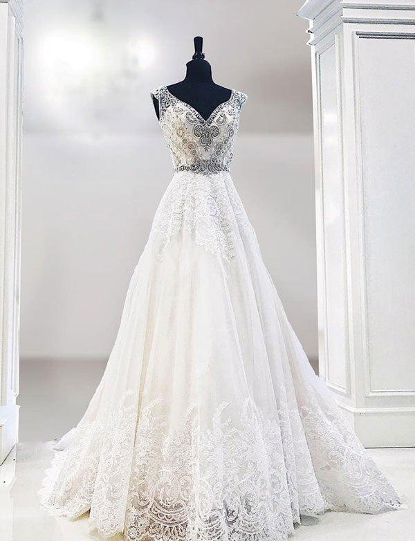 Beautiful A Line V Neck Sweep Train White Appliques Wedding Dress with Beading - ericprom
