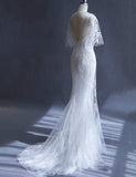 Glamorous V Neck White Mermaid Wedding Dress with Sleeves Lace Appliques - ericprom
