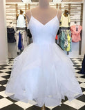 Simple A Line Spaghetti Straps White Tulle Homecoming Dress with Beading - ericprom