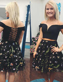 A Line Off the shoulder Two Piece Homecoming  Dress with Embroidery Black Cocktail Dress - ericprom