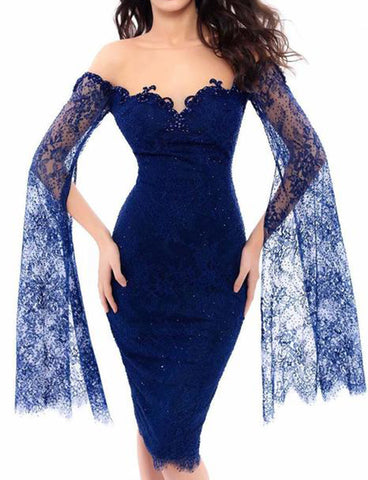 Column Crew Knee Length Lace Royal Blue Cocktail Dress with Bell Sleeves Beading
