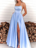 A-Line Spaghetti Straps Royal Blue Long Prom Dress