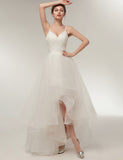 A Line Spaghetti Straps Asymmetrical Simple Wedding Dress High Low Bridal Dress - ericprom