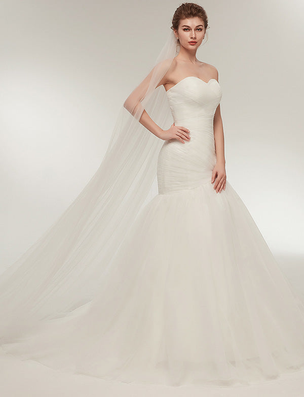 Tight Sweetheart Lace Up Tulle Floor Length Sleeveless Mermaid Wedding Dress - ericprom