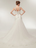 V Neck Lace-Up Sweep Train Sleeveless Mermaid Wedding Dress with Beading - ericprom