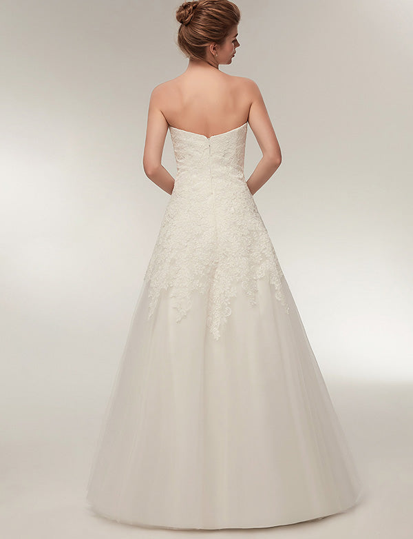Charming A Line White Tulle Floor Length Sweetheart Wedding Dress with Lace - ericprom