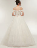 A Line Floor Length Off-the-Shoulder Wedding Dress with Appliques Short Sleeves - ericprom
